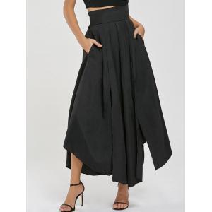 High Waisted Slit Maxi Skirt - Black - M