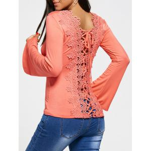 Hollow Out Lace Back Long Sleeve T-shirt