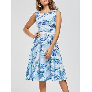Sea Wave Print High Waist Retro Skater Dress