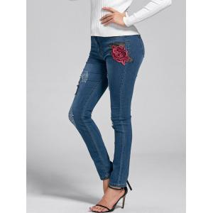 Ripped Embroidery Skinny Jeans - DENIM BLUE M