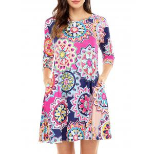 Ethnic Flare Floral Print Dress - Rose Red - Xl