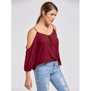 Cold Shoulder Lace Up Top - WINE RED XL
