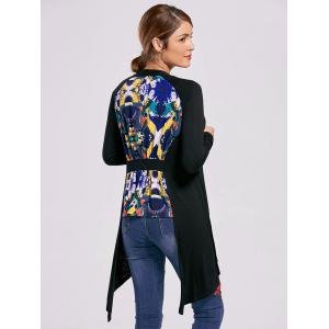 Printed High Low Open Front Cardigan - BLACK XL