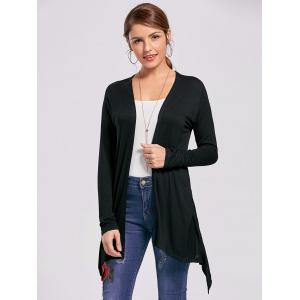 Printed High Low Open Front Cardigan - BLACK 2XL