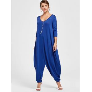 Drape V Neck Cut Harem Jumpsuit - Bleu 2XL