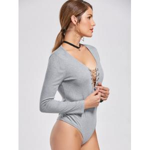 Sexy Solid Color Alloy Lace-Up Long Sleeve Knitted Bodysuit For Women -