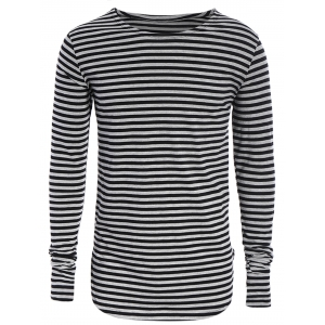 Long Sleeve Striped Mens Top - Black And Grey - M