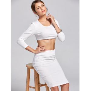 Stylish Scoop Neck Long Sleeve Solid Color Crop Top and Skirt Suit For Women - WHITE M