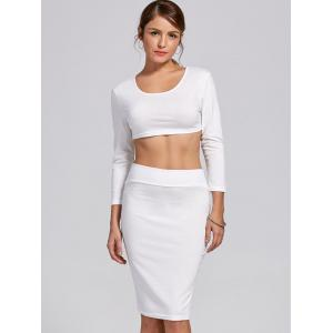 Stylish Scoop Neck Long Sleeve Solid Color Crop Top and Skirt Suit For Women -