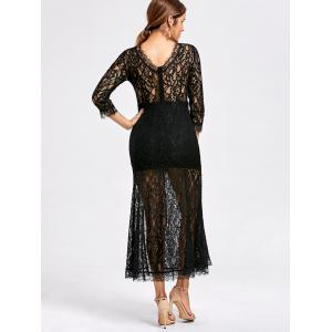 Lace High Split See Thru Party Dress -