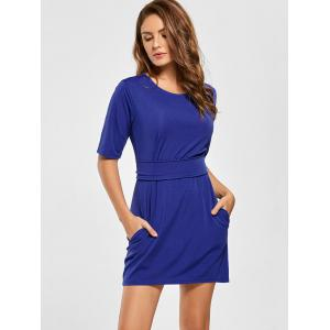 Belted Mini Fitted Dress -