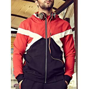 Plus Size Hooded Color Block Bomber Jacket -