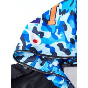 Plus Size Camo Hood Patched Bomber Jacket -
