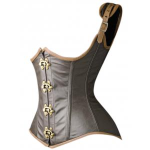 Faux Leather Underbust Corset Vest -