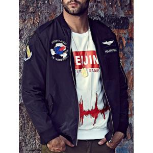 Plus Size Embroidered Graphic Bomber Jacket -