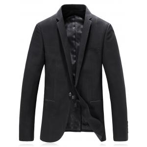Lapel Edging One Button Irregular Pinstripe Blazer -