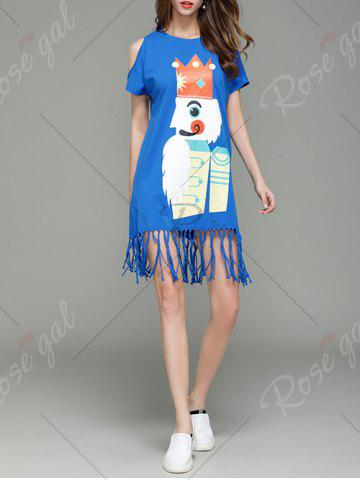 Cheap Cartoon King Cold Shoulder Tassel T-shirt Dress - S BLUE Mobile