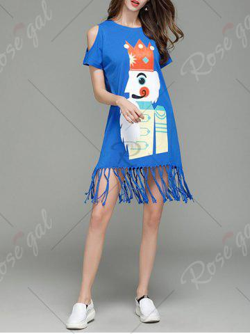 Fashion Cartoon King Cold Shoulder Tassel T-shirt Dress - S BLUE Mobile