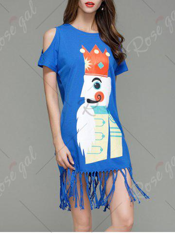 Shop Cartoon King Cold Shoulder Tassel T-shirt Dress - S BLUE Mobile