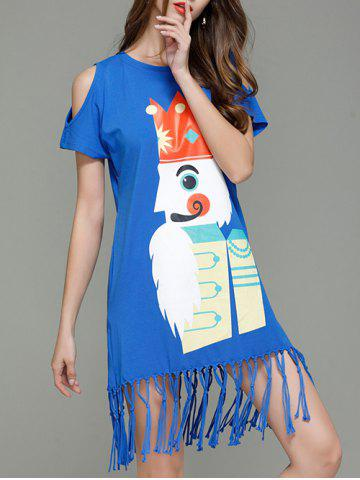 Store Cartoon King Cold Shoulder Tassel T-shirt Dress - S BLUE Mobile