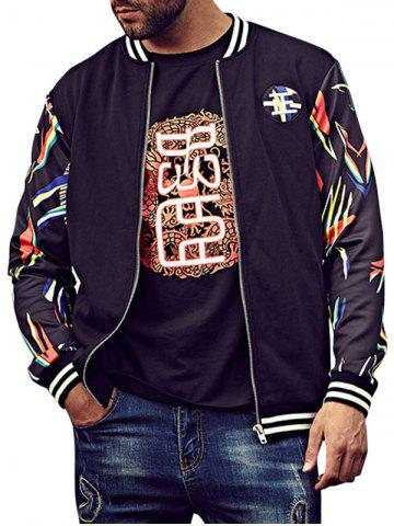 Online Printed Plus Size Patch Bomber Jacket - 6XL BLACK Mobile