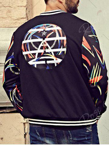 Store Printed Plus Size Patch Bomber Jacket - 6XL BLACK Mobile