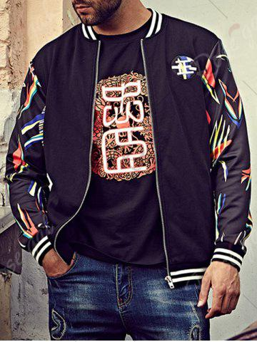 Discount Printed Plus Size Patch Bomber Jacket - 6XL BLACK Mobile