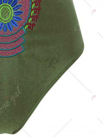 Shops Embroidered Cross Back Plus Size Swimsuit - 4XL ARMY GREEN Mobile