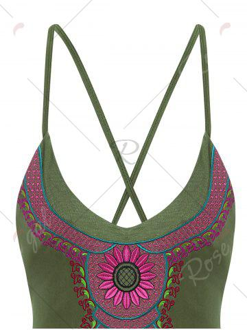 Best Embroidered Cross Back Plus Size Swimsuit - 4XL ARMY GREEN Mobile