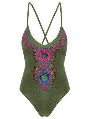 Outfits Embroidered Cross Back Plus Size Swimsuit - 4XL ARMY GREEN Mobile