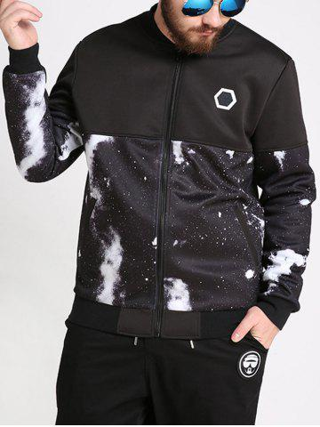 New Plus Size Galaxy Printed Bomber Jacket - 6XL BLACK Mobile