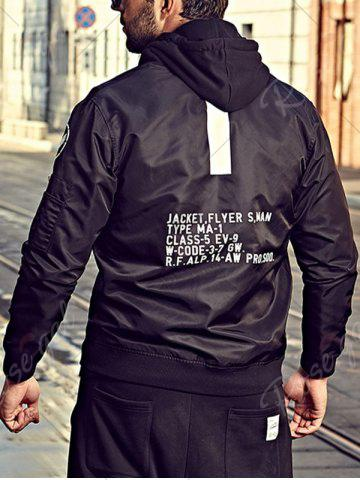 Outfits Graphic Print Bomber Jacket with Pocket Detail - 3XL BLACK Mobile