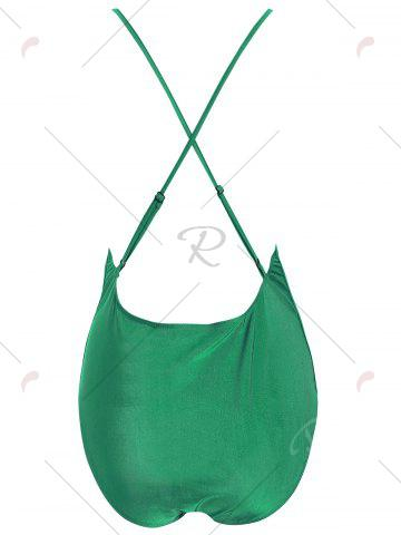 Discount Embroidered Cross Back Plus Size Swimsuit - 4XL GREEN Mobile