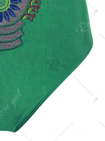Hot Embroidered Cross Back Plus Size Swimsuit - 4XL GREEN Mobile