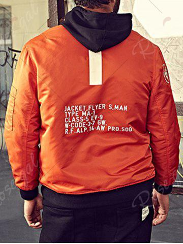New Graphic Print Bomber Jacket with Pocket Detail - 3XL ORANGE Mobile