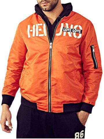Shops Graphic Print Bomber Jacket with Pocket Detail - 3XL ORANGE Mobile