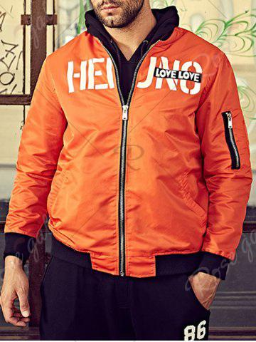 Sale Graphic Print Bomber Jacket with Pocket Detail - 3XL ORANGE Mobile