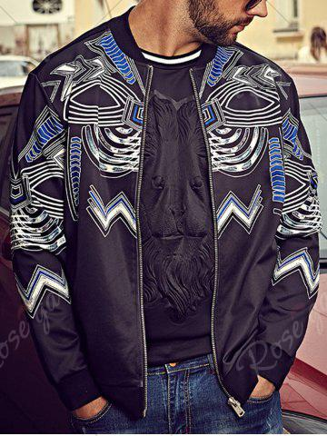 Buy Plus Size Totem Print Bomber Jacket - 4XL BLACK Mobile