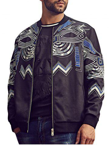 New Plus Size Totem Print Bomber Jacket - 4XL BLACK Mobile