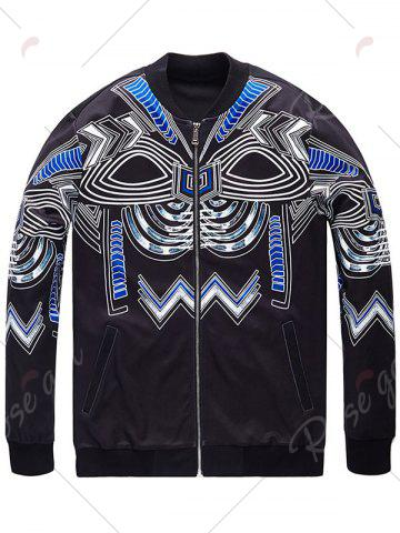 Best Plus Size Totem Print Bomber Jacket - 4XL BLACK Mobile