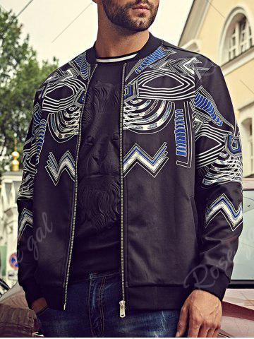 New Plus Size Totem Print Bomber Jacket - 6XL BLACK Mobile