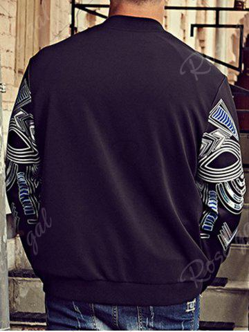 Shop Plus Size Totem Print Bomber Jacket - 6XL BLACK Mobile
