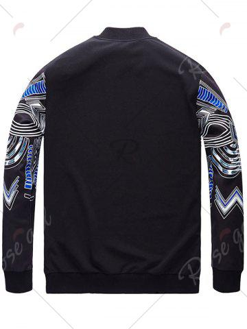 Best Plus Size Totem Print Bomber Jacket - 6XL BLACK Mobile