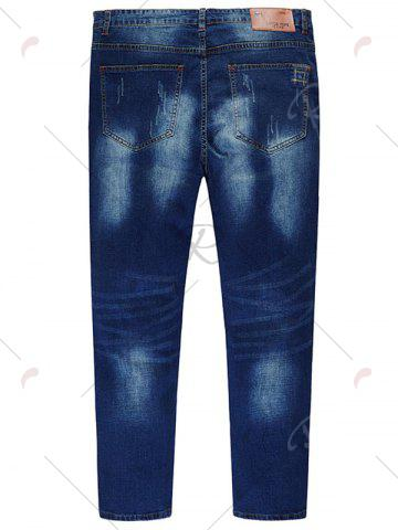 Online Plus Size Stitching Zip Fly Jeans - 6XL DENIM BLUE Mobile