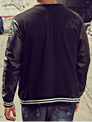 Online Embroidery Patch PU Panel Bomber Jacket - 4XL BLACK Mobile
