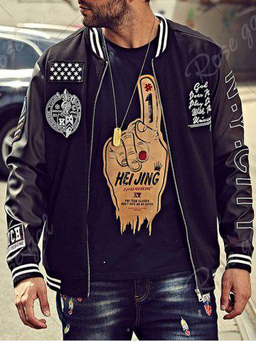 Buy Embroidery Patch PU Panel Bomber Jacket - 4XL BLACK Mobile