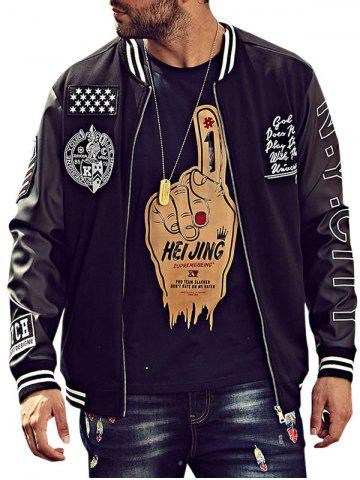 Buy Embroidery Patch PU Panel Bomber Jacket BLACK 5XL