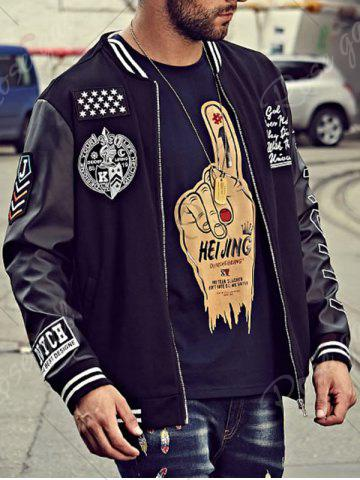 Latest Embroidery Patch PU Panel Bomber Jacket - 6XL BLACK Mobile