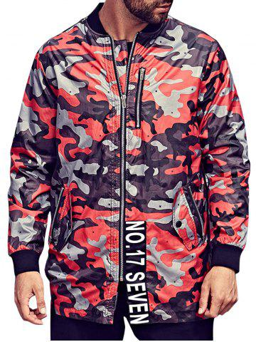 Fancy Plus Size Camo Jacket with Zip Pocket RED 3XL