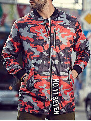 Buy Plus Size Camo Jacket with Zip Pocket - 3XL RED Mobile